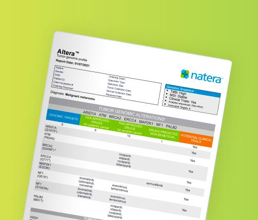 Altera genomic profile report